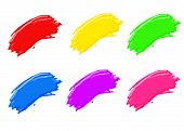 image of paint brush  - paint brush strokes in all different colors - JPG