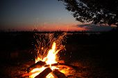 Camp Fire on the Zambezi River, Zambia.