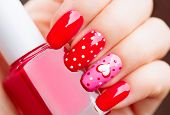 ������, ������: Valentine Nail art manicure Valentines Day Holiday style bright Manicure with painted hearts and po