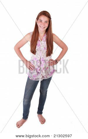 Happy Teen Girl on pure background