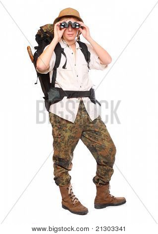 Young traveler with his binoculars. Studio shot isolated on white background.