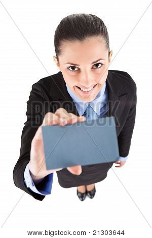 Smiling Businesswoman With  Business Card