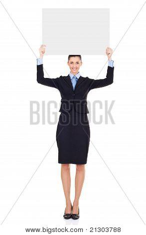 Businesswoman With  Blank Billboard Over Her Head