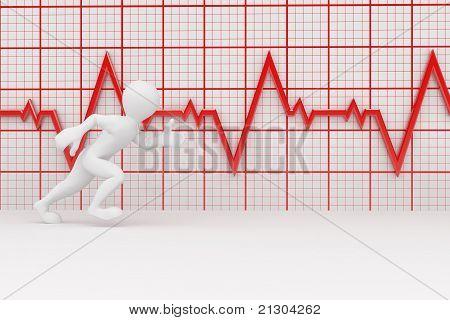 Running Men And Chart Heartbeat. 3D