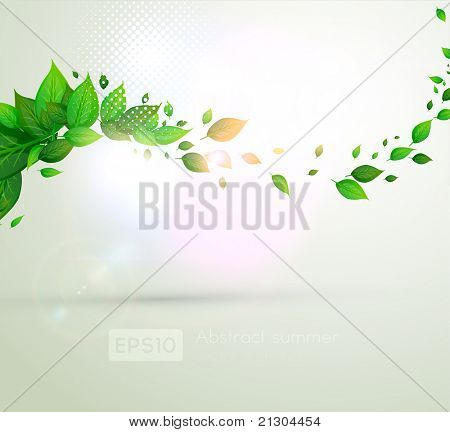 fresh green leaves for summer banner design