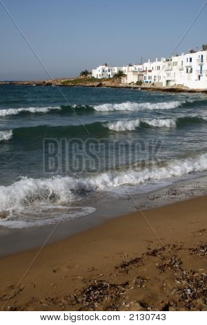 Greece, Paros Island -  Beach And Whitewahsed Houses
