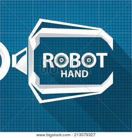 Vector robotic arm symbol on vector photo bigstock vector robotic arm symbol on blueprint paper background robot hand technology background design template malvernweather Image collections