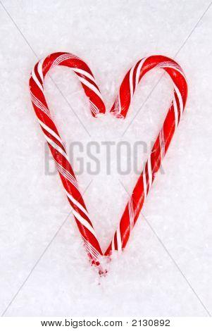 Coração de bastão de doces