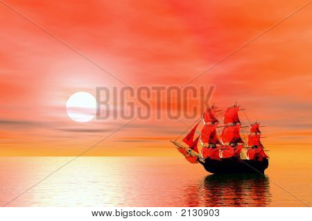 Sunset. Sailing Ship