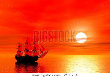 Red Sunset. Sailing Ship