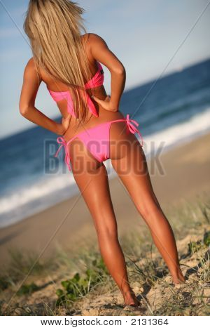 Blond Bikini Model In Pink