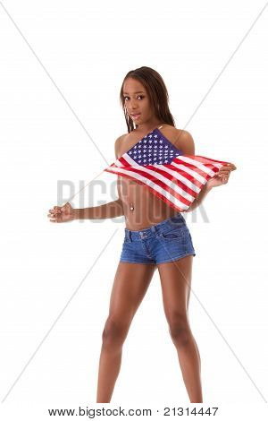 Sexy Black Ethnic Woman With In American National Flag