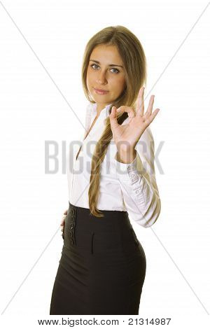 Young Business Woman Showing Ok