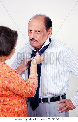 Senior male dressing routine