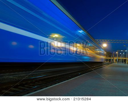 blue moving train blur
