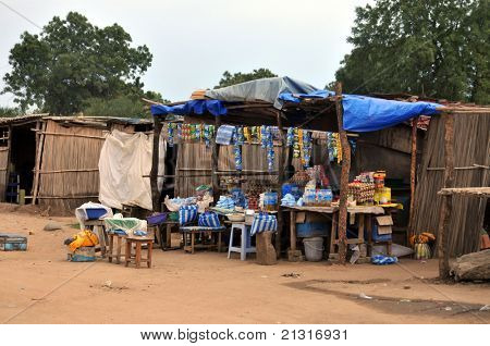 TEREKEKA – JUNE 11: Groceries and cellphone airtime are sold at a simple roadside shop in Terekeka, South Sudan, on June 11, 2011. South Sudan is one of the most undeveloped countries in the world.