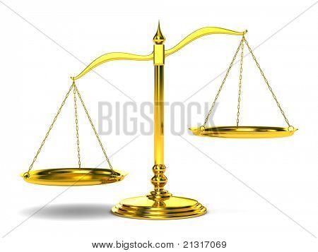 Justicia de escalas sobre fondo blanco. Imagen 3D aislada