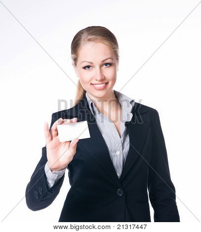 businesswoman holding blank empty sign