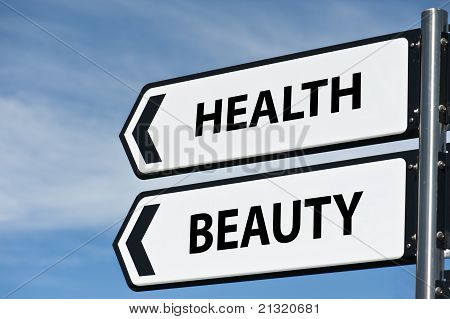 Health And Beauty Sign Post