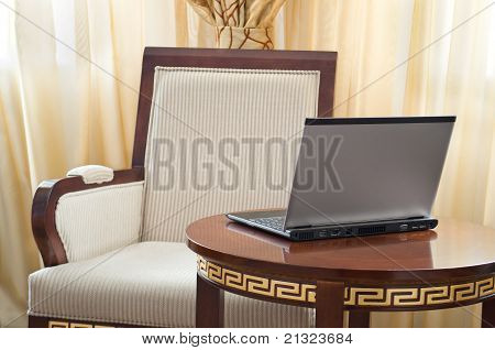 Notebook (laptop) On A  Home Interior