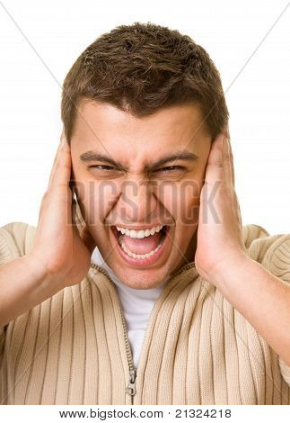 Man Shuts His Ears Hands