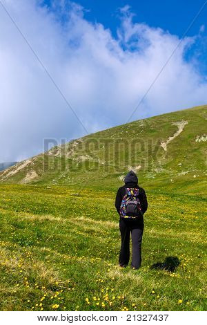 Tourist Lady Hiking On Iezer Peak In Parang Mountains