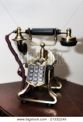 Closeup of vintage telephone