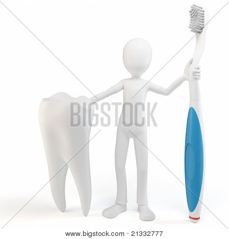 3D Man With Tooth And Tooth Brush