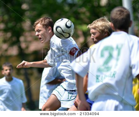 KAPOSVAR, HUNGARY - JUNE 11: Gabor Voros (17) in action at the Hungarian National Championship under 17 game between Kaposvari Rakoczi FC and Bajai LSE on June 11, 2011 in Kaposvar, Hungary.