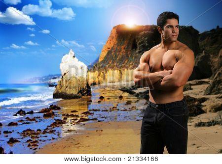 Muscular Man At Beach