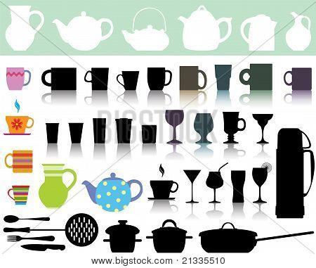 Vector conjunto de utensilios de cocina