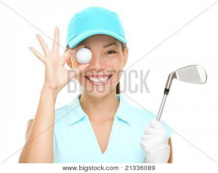 Golf fun. Happy woman golf player showing golf ball holding golf club. Funny cute image of Asian Caucasian female golf player isolated on white background.