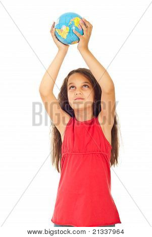 Girl Holding World Globe In Her Hands