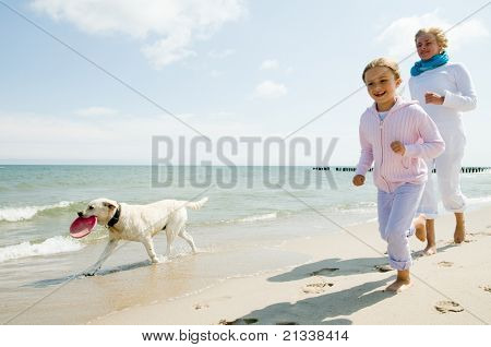 Summer vacation - family with dog playing on the beach