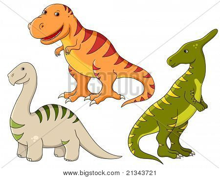 Rasterized version of vector set - funny dinosaurs. Tyrannosaurus, brontosaurus and saurolophus