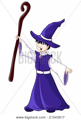 Young wizard. Rasterized version of vector illustration. Isolated over white