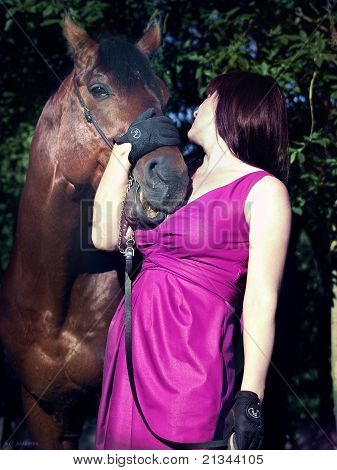 pretty women with horse