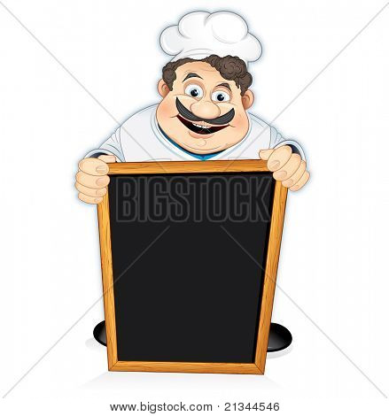 Cartoon Chef Cook with blank wooden menu board, vector illustration
