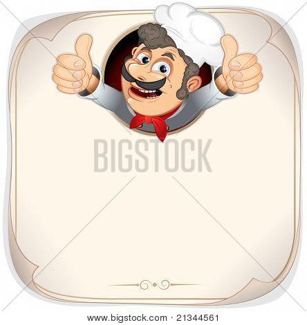Chef Cook showing thumb up, vector menu background template