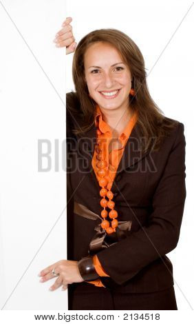 Business Woman Holding Billboard