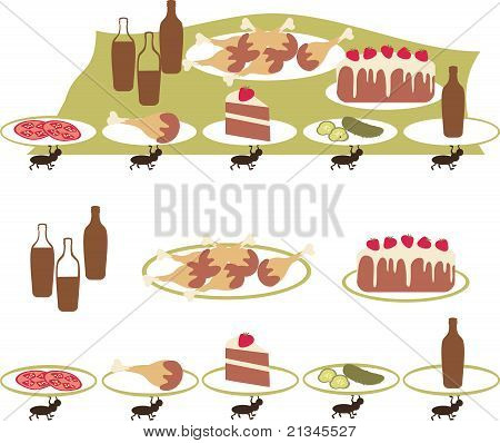 Ants stealing picnic food drumsticks and cake