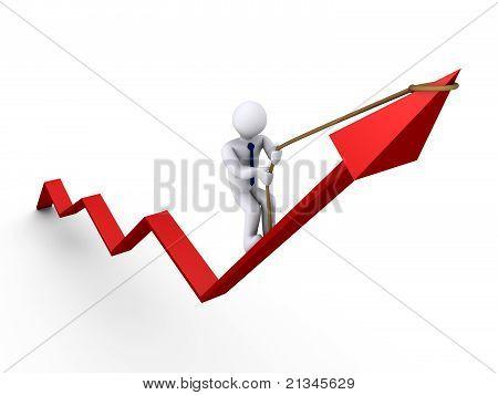 Empresário gráfico de escalada