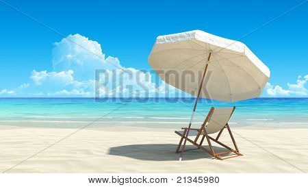 Beach chair and umbrella on idyllic tropical sand beach. No noise, clean, extremely detailed 3d render. Concept for rest, relaxation, holidays, spa, resort design.