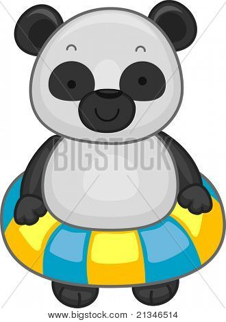 Illustration of a Panda Wearing a Flotation Device