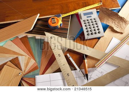 Architect interior designer or carpenter workplace with desk design tools