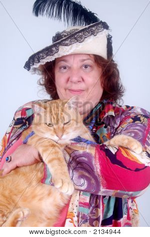 Funny Lady With Cat