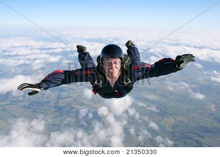 Close-up of skydiver in freefall