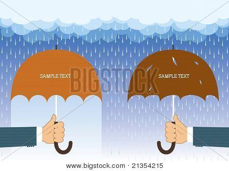 Hands Holding Umbrellas Under Big Rain.vector Background For Text