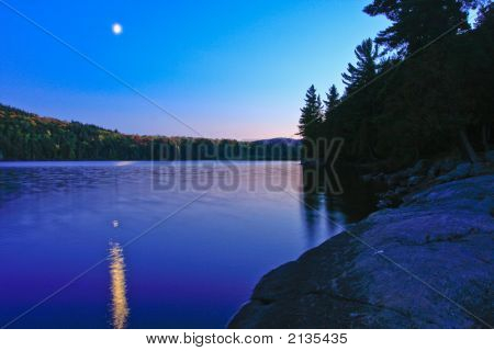 Night Scene On Interior Lake, Algonquin Provincial Park, Ontario, Canada