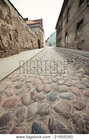 European old town street, wide angle view.